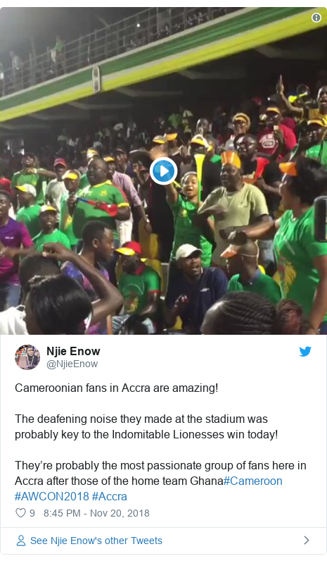 Twitter post by @NjieEnow: Cameroonian fans in Accra are amazing! The deafening noise they made at the stadium was probably key to the Indomitable Lionesses win today! They're probably the most passionate group of fans here in Accra after those of the home team Ghana#Cameroon #AWCON2018 #Accra