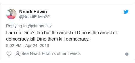 Twitter post by @NnadiEdwin25: I am no Dino's fan but the arrest of Dino is the arrest of democracy,kill Dino them kill democracy.