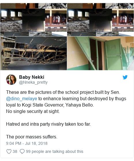 Twitter post by @Nneka_pretty: These are the pictures of the school project built by Sen. @dino_melaye to enhance learning but destroyed by thugs loyal to Kogi State Governor, Yahaya Bello. No single security at sight. Hatred and intra party rivalry taken too far. The poor masses suffers.