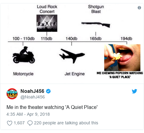 Twitter post by @NoahJ456: Me in the theater watching 'A Quiet Place'