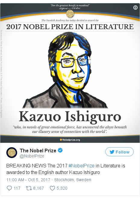Twitter post by @NobelPrize: BREAKING NEWS The 2017 #NobelPrize in Literature is awarded to the English author Kazuo Ishiguro pic.twitter.com/j9kYaeMZH6