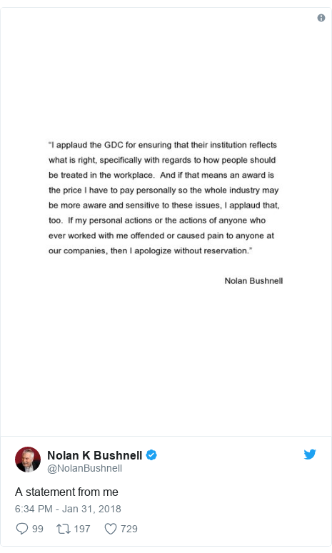 Twitter post by @NolanBushnell: A statement from me