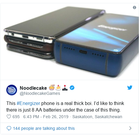 Twitter post by @NoodlecakeGames: This #Energizer phone is a real thick boi. I'd like to think there is just 8 AA batteries under the case of this thing.