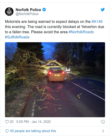 Twitter post by @NorfolkPolice: Motorists are being warned to expect delays on the #A146 this evening. The road is currently blocked at Yelverton due to a fallen tree. Please avoid the area #NorfolkRoads #SuffolkRoads