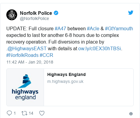 Twitter post by @NorfolkPolice: UPDATE  Full closure #A47 between #Acle & #GtYarmouth expected to last for another 6-8 hours due to complex recovery operation. Full diversions in place by .@HighwaysEAST with details at . #NorfolkRoads #CCR
