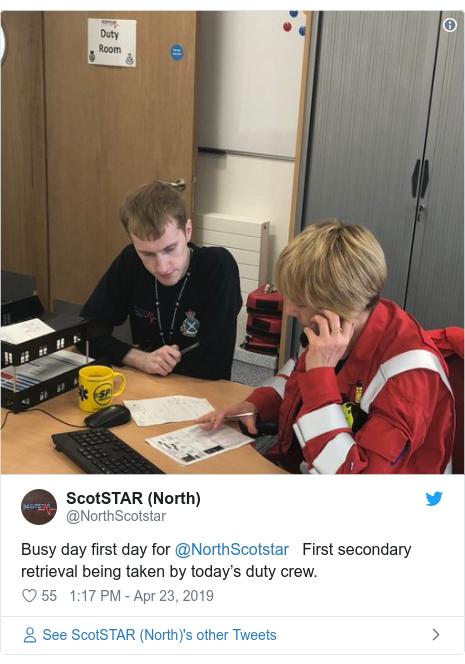 Twitter post by @NorthScotstar: Busy day first day for @NorthScotstar   First secondary retrieval being taken by today's duty crew.