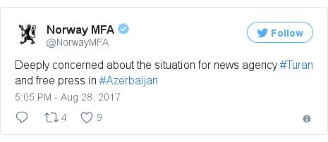@NorwayMFA tərəfindən edilən Twitter paylaşımı: Deeply concerned about the situation for news agency #Turan and free press in #Azerbaijan