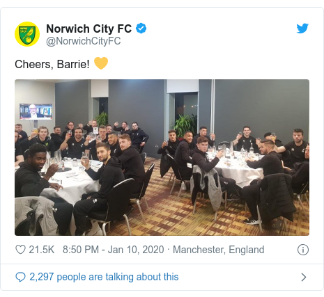 Twitter post by @NorwichCityFC: Cheers, Barrie! 💛