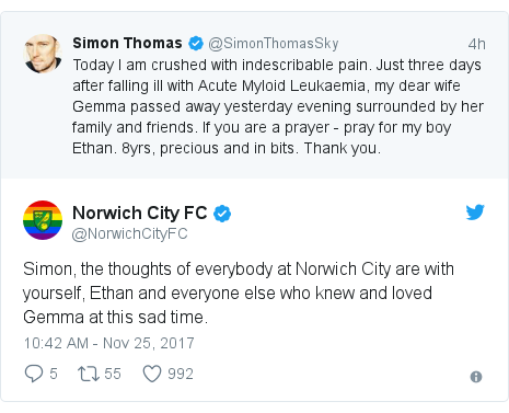 Twitter post by @NorwichCityFC: Simon, the thoughts of everybody at Norwich City are with yourself, Ethan and everyone else who knew and loved Gemma at this sad time.