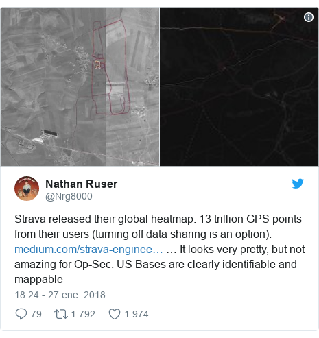 Publicación de Twitter por @Nrg8000: Strava released their global heatmap. 13 trillion GPS points from their users (turning off data sharing is an option).  … It looks very pretty, but not amazing for Op-Sec. US Bases are clearly identifiable and mappable