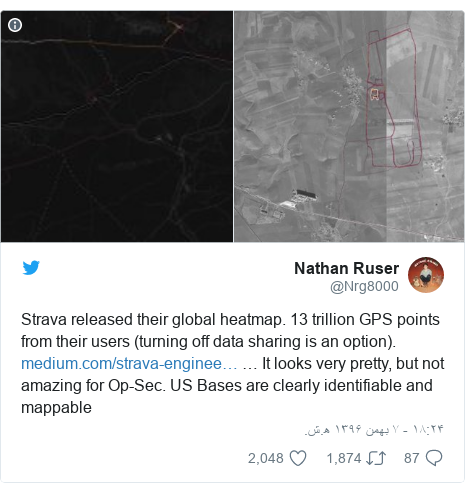 پست توییتر از @Nrg8000: Strava released their global heatmap. 13 trillion GPS points from their users (turning off data sharing is an option).  … It looks very pretty, but not amazing for Op-Sec. US Bases are clearly identifiable and mappable