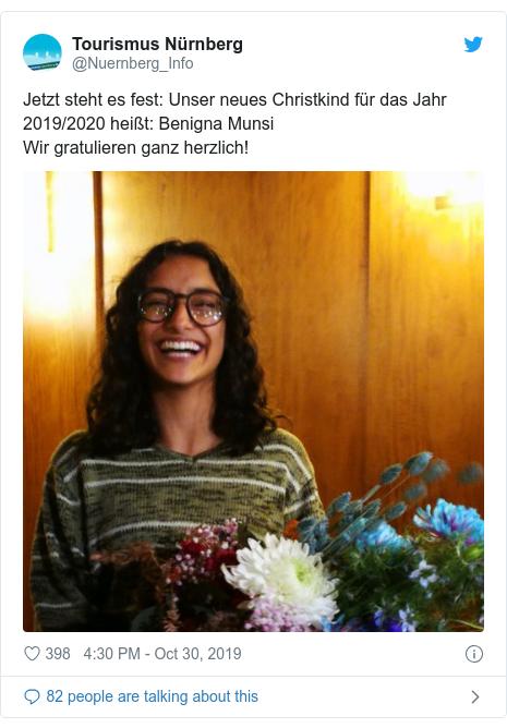Twitter post by @Nuernberg_Info: Jetzt steht es fest  Unser neues Christkind für das Jahr 2019/2020 heißt  Benigna Munsi Wir gratulieren ganz herzlich!