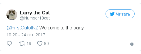 Twitter пост, автор: @Number10cat: @FirstCatofNZ Welcome to the party.