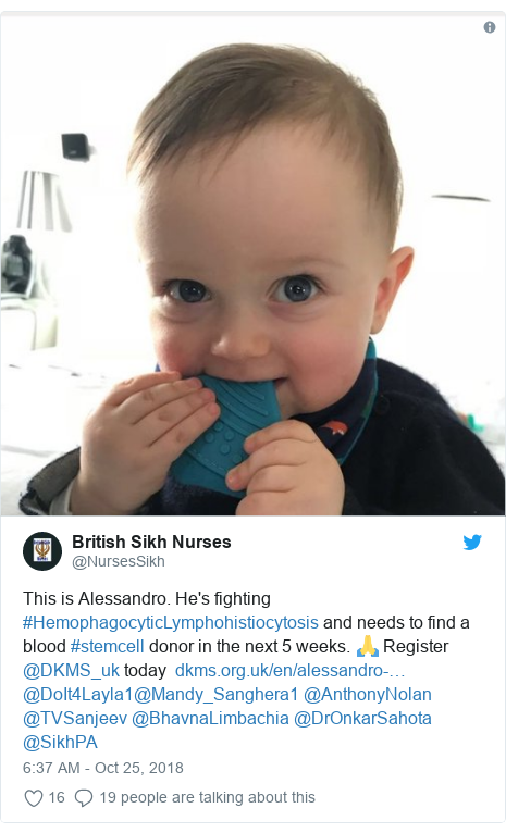 Twitter post by @NursesSikh: This is Alessandro. He's fighting #HemophagocyticLymphohistiocytosis and needs to find a blood #stemcell donor in the next 5 weeks. 🙏 Register  @DKMS_uk today   @DoIt4Layla1@Mandy_Sanghera1 @AnthonyNolan @TVSanjeev @BhavnaLimbachia @DrOnkarSahota @SikhPA