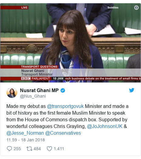 Twitter pesan oleh @Nus_Ghani: Made my debut as @transportgovuk Minister and made a bit of history as the first female Muslim Minister to speak from the House of Commons dispatch box. Supported by wonderful colleagues Chris Grayling, @JoJohnsonUK & @Jesse_Norman @Conservatives
