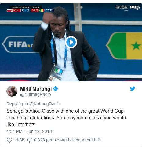 Twitter post by @NutmegRadio: Senegal's Aliou Cissé with one of the great World Cup coaching celebrations. You may meme this if you would like, internets.