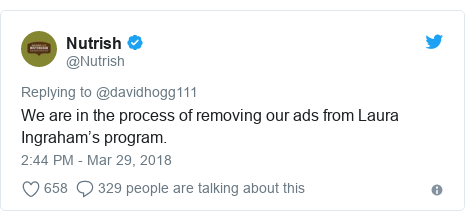 Twitter post by @Nutrish: We are in the process of removing our ads from Laura Ingraham's program.