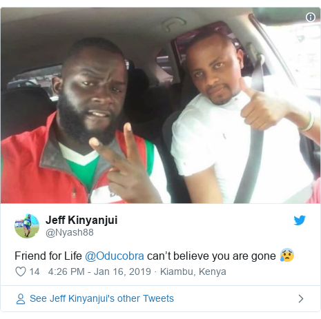 Twitter post by @Nyash88: Friend for Life @Oducobra can't believe you are gone 😰