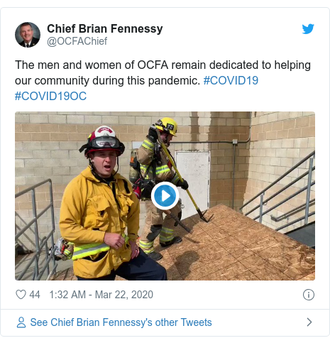 Twitter post by @OCFAChief: The men and women of OCFA remain dedicated to helping our community during this pandemic. #COVID19 #COVID19OC