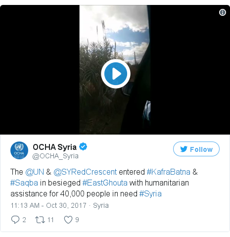 Twitter post by @OCHA_Syria: The @UN & @SYRedCrescent entered #KafraBatna & #Saqba in besieged #EastGhouta with humanitarian assistance for 40,000 people in need #Syria