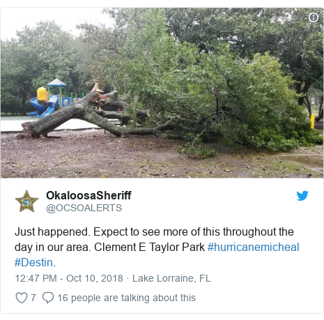 Twitter post by @OCSOALERTS: Just happened. Expect to see more of this throughout the day in our area. Clement E Taylor Park #hurricanemicheal #Destin.