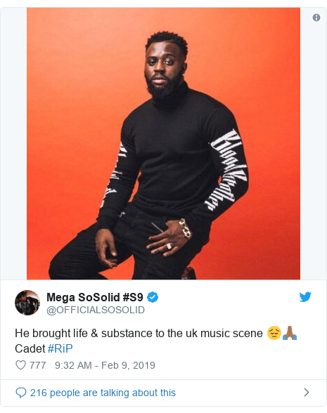 Twitter post by @OFFICIALSOSOLID: He brought life & substance to the uk music scene 😔🙏🏾 Cadet #RiP