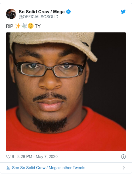 Twitter post by @OFFICIALSOSOLID: RiP ✨🕊😔 TY