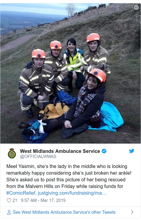 Twitter post by @OFFICIALWMAS: Meet Yasmin, she's the lady in the middle who is looking remarkably happy considering she's just broken her ankle! She's asked us to post this picture of her being rescued from the Malvern Hills on Friday while raising funds for #ComicRelief.