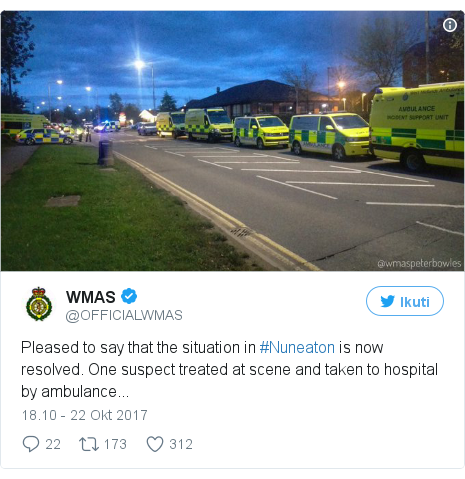 Twitter pesan oleh @OFFICIALWMAS: Pleased to say that the situation in #Nuneaton is now resolved. One suspect treated at scene and taken to hospital by ambulance...
