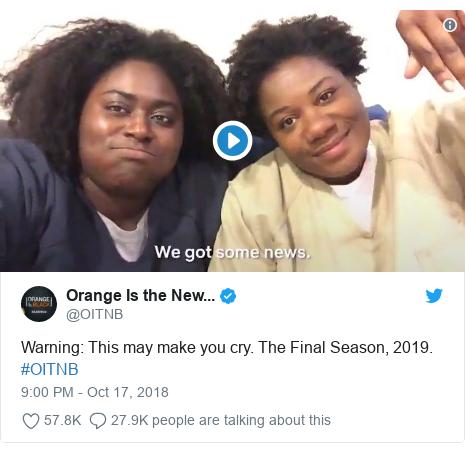 Twitter post by @OITNB: Warning  This may make you cry. The Final Season, 2019. #OITNB