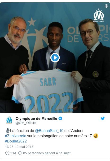 Twitter publication par @OM_Officiel: 🎙️La réaction de @BounaSarr_10 et d'Andoni #Zubizarreta sur la prolongation de notre numéro 17 😃 #Bouna2022