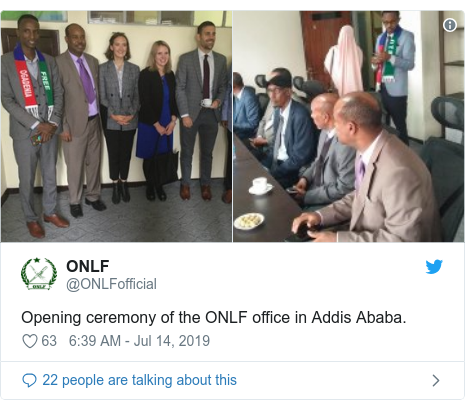 Twitter post by @ONLFofficial: Opening ceremony of the ONLF office in Addis Ababa.