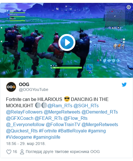 Twitter post by @OOGYouTube: Fortnite can be HILARIOUS 😎 DANCING IN THE MOONLIGHT 🌔🌔@Ram_RTs @SGH_RTs @RelayFollowers @MergeRetweets @Demented_RTs @GFXCoach @FEAR_RTs @Flow_Rts @_Everyonefollow @FollowTrainTV @MergeRetweets @Quickest_Rts #Fortnite #BattleRoyale #gaming #Videogame #gamingislife