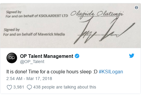 Twitter post by @OP_Talent: It is done! Time for a couple hours sleep  D #KSILogan