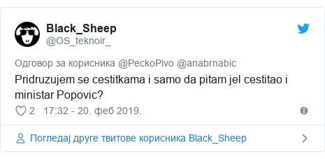 Twitter post by @OS_teknoir_: Pridruzujem se cestitkama i samo da pitam jel cestitao i ministar Popovic?