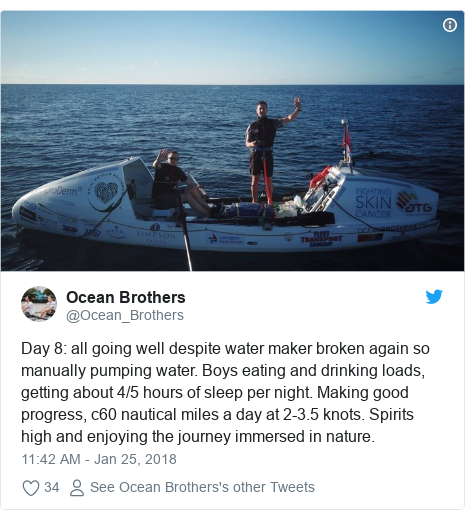 Twitter post by @Ocean_Brothers: Day 8  all going well despite water maker broken again so manually pumping water. Boys eating and drinking loads, getting about 4/5 hours of sleep per night. Making good progress, c60 nautical miles a day at 2-3.5 knots. Spirits high and enjoying the journey immersed in nature.