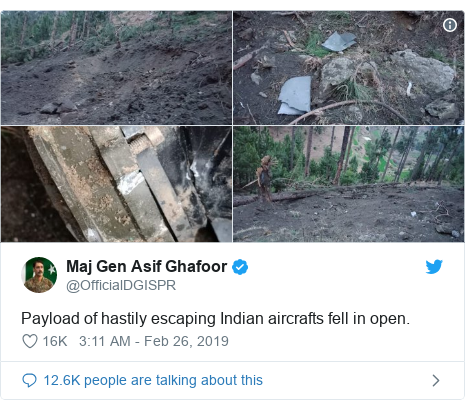 Twitter post by @OfficialDGISPR: Payload of hastily escaping Indian aircrafts fell in open.