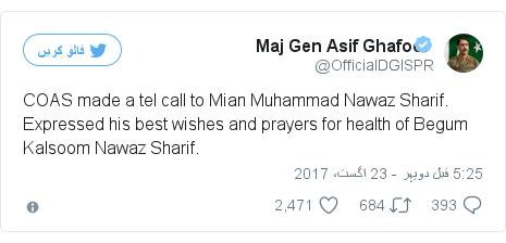 ٹوئٹر پوسٹس @OfficialDGISPR کے حساب سے