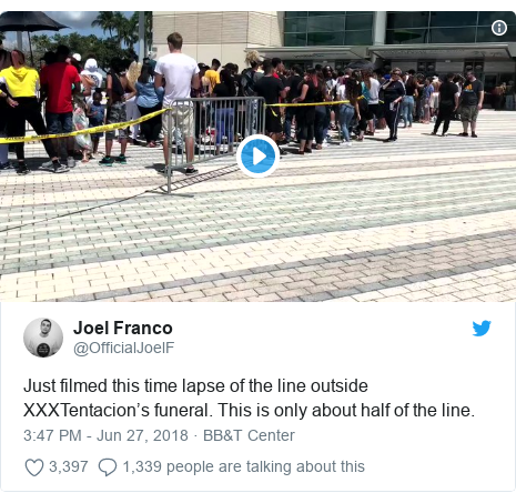 Twitter post by @OfficialJoelF: Just filmed this time lapse of the line outside XXXTentacion's funeral. This is only about half of the line.