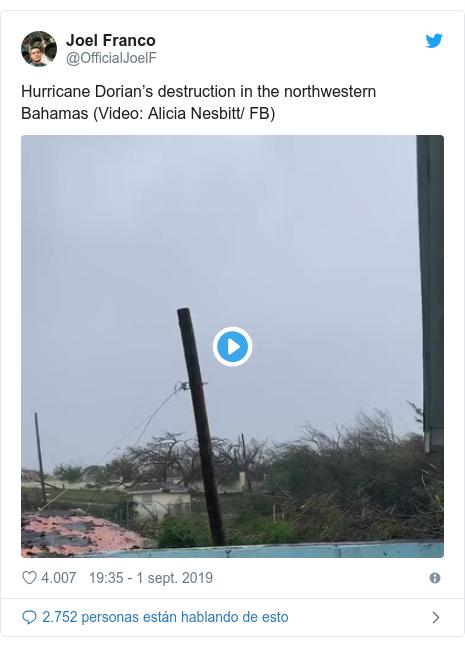 Publicación de Twitter por @OfficialJoelF: Hurricane Dorian's destruction in the northwestern Bahamas (Video  Alicia Nesbitt/ FB)