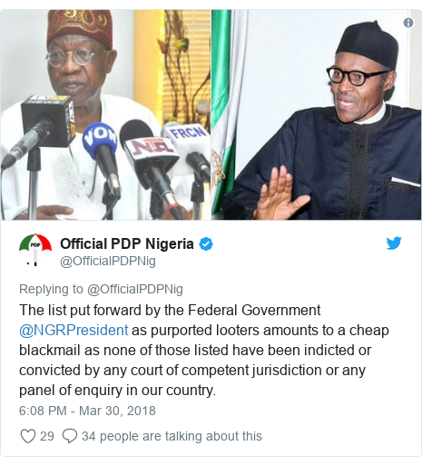Twitter post by @OfficialPDPNig: The list put forward by the Federal Government @NGRPresident as purported looters amounts to a cheap blackmail as none of those listed have been indicted or convicted by any court of competent jurisdiction or any panel of enquiry in our country.