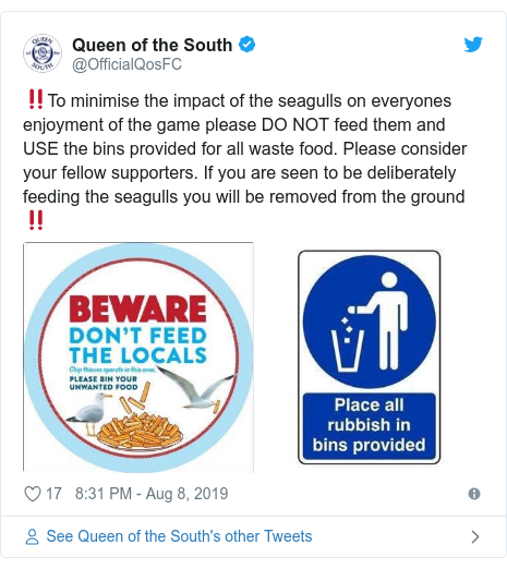 Twitter post by @OfficialQosFC: ‼️To minimise the impact of the seagulls on everyones enjoyment of the game please DO NOT feed them and USE the bins provided for all waste food. Please consider your fellow supporters. If you are seen to be deliberately feeding the seagulls you will be removed from the ground‼️
