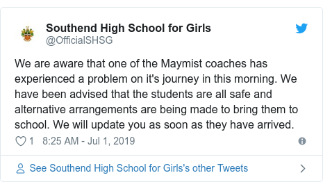 Twitter post by @OfficialSHSG: We are aware that one of the Maymist coaches has experienced a problem on it's journey in this morning. We have been advised that the students are all safe and alternative arrangements are being made to bring them to school. We will update you as soon as they have arrived.