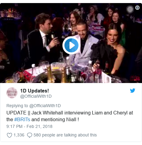 Twitter post by @OfficialWith1D: UPDATE || Jack Whitehall interviewing Liam and Cheryl at the #BRITs and mentioning Niall !