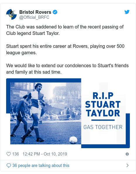 Twitter post by @Official_BRFC: The Club was saddened to learn of the recent passing of Club legend Stuart Taylor.Stuart spent his entire career at Rovers, playing over 500 league games.We would like to extend our condolences to Stuart's friends and family at this sad time.
