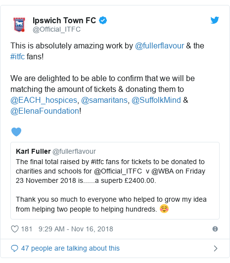 Twitter post by @Official_ITFC: This is absolutely amazing work by @fullerflavour & the #itfc fans!We are delighted to be able to confirm that we will be matching the amount of tickets & donating them to @EACH_hospices, @samaritans, @SuffolkMind & @ElenaFoundation! 💙