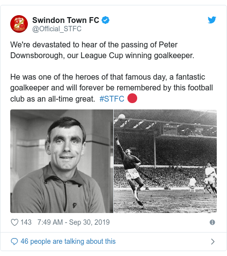 Twitter post by @Official_STFC: We're devastated to hear of the passing of Peter Downsborough, our League Cup winning goalkeeper. He was one of the heroes of that famous day, a fantastic goalkeeper and will forever be remembered by this football club as an all-time great.  #STFC 🔴