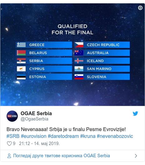 Twitter post by @OgaeSerbia: Bravo Nevenaaaa! Srbija je u finalu Pesme Evrovizije! #SRB #eurovision #daretodream #kruna #nevenabozovic