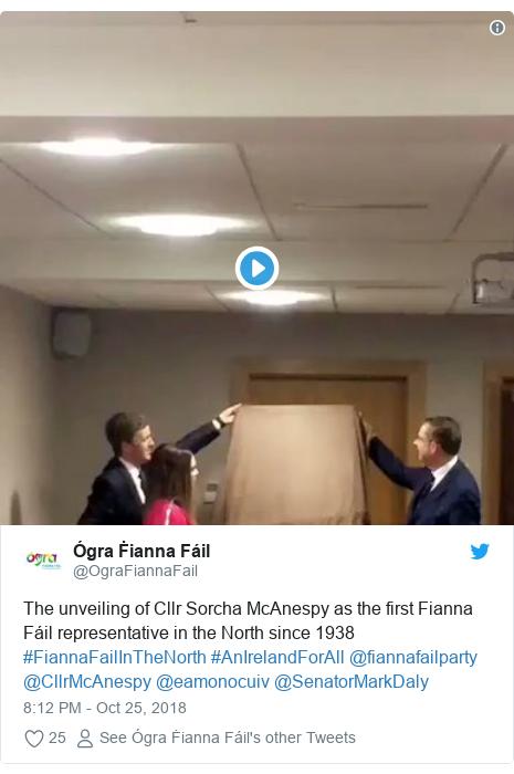 Twitter post by @OgraFiannaFail: The unveiling of Cllr Sorcha McAnespy as the first Fianna Fáil representative in the North since 1938 #FiannaFailInTheNorth #AnIrelandForAll @fiannafailparty @CllrMcAnespy @eamonocuiv @SenatorMarkDaly