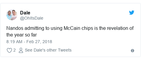 Twitter post by @OhItsDale: Nandos admitting to using McCain chips is the revelation of the year so far